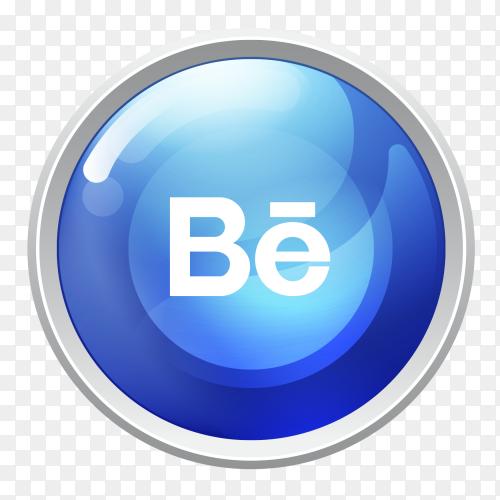Logo Behance button social media PNG