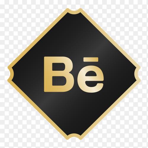 Logo Behance with golden details PNG
