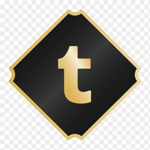 Logo Tumblr with golden details PNG
