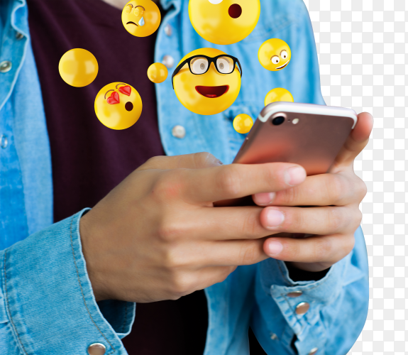 Man using smartphone sending emojis PNG