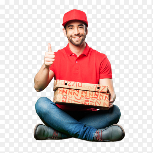 pizza dealer sitting holding pizza box PNG