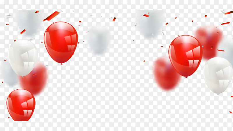 Red-white balloons confetti concept PNG