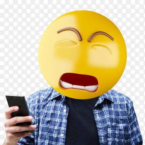 Sad emoji head man PNG
