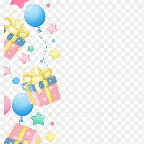 Seamless vector birthday gift box, balloon, star PNG