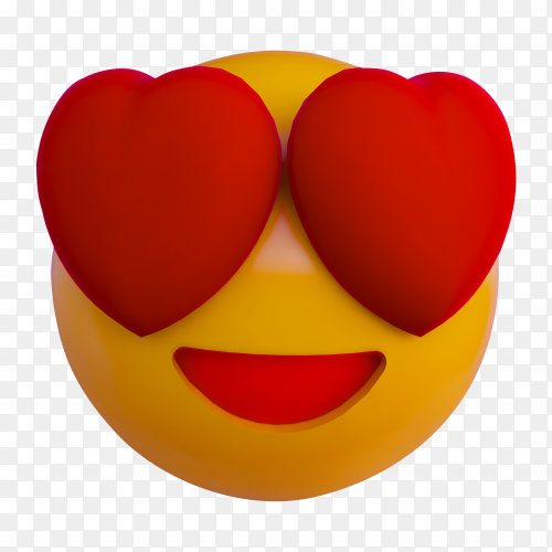 Smile yellow ball emoji 3D render background PNG