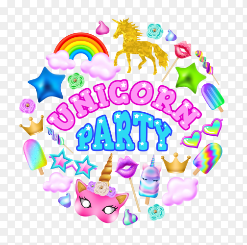 Word unicorn party vector PNG