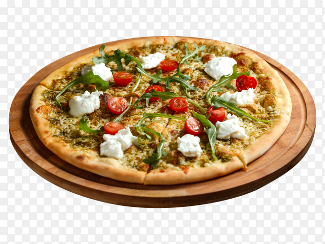 Vegetable based pizza with white cheese cherries PNG