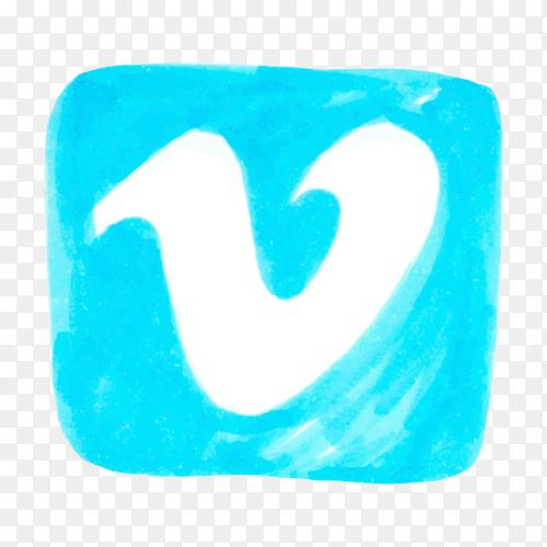 Vimeo logo icon social media hand drawn PNG