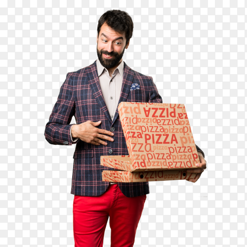 Well dressed man holding pizzas PNG