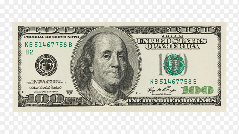 100 dollar banknote – image PNG