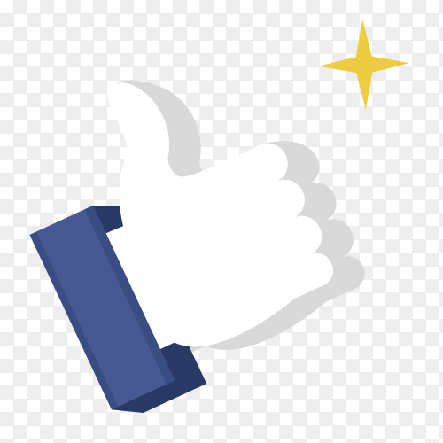 3D Thumb up like concept transparent PNG