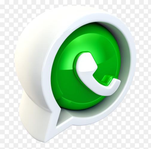 3D WhatsApp logo royalty free PNG