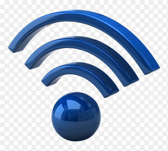 3D blue wifi icon on transparent background PNG