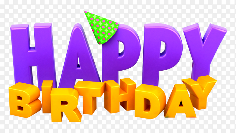 3D happy birthday transparent PNG