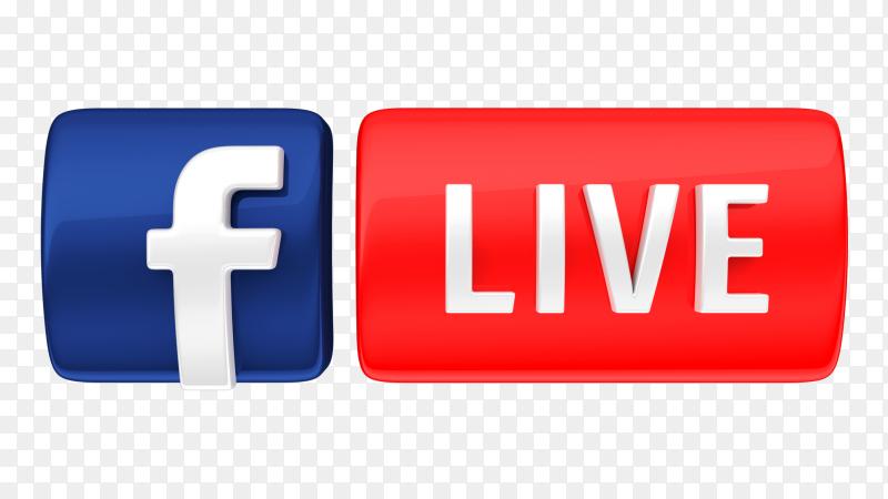 3D icon facebook live transparent PNG