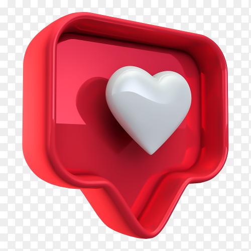 3D like instagram on transparent background PNG