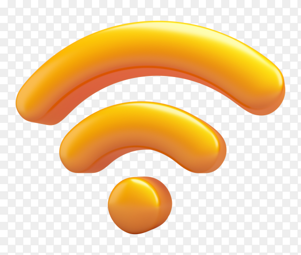 3D orang wifi icon on transparent background PNG