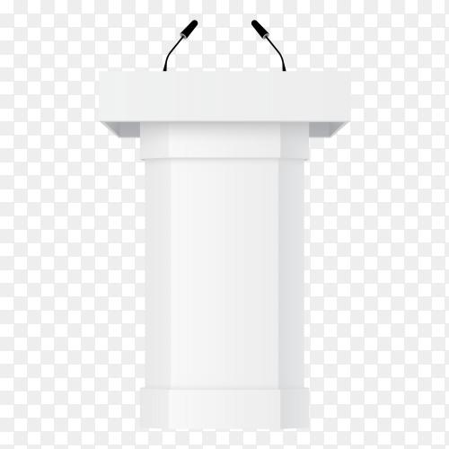 3D podium tribune with microphones – rostrum stand transparent PNG