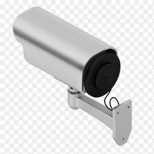 3D render gray security camera transparent PNG
