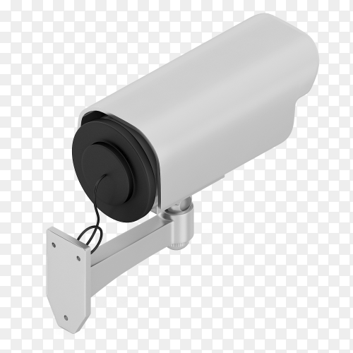 3D render premium security camera transparent PNG