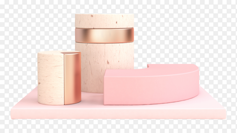 3D rendering podium for product presentation on transparent background PNG