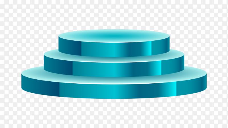 3D winner podium blue three stepped transparent PNG