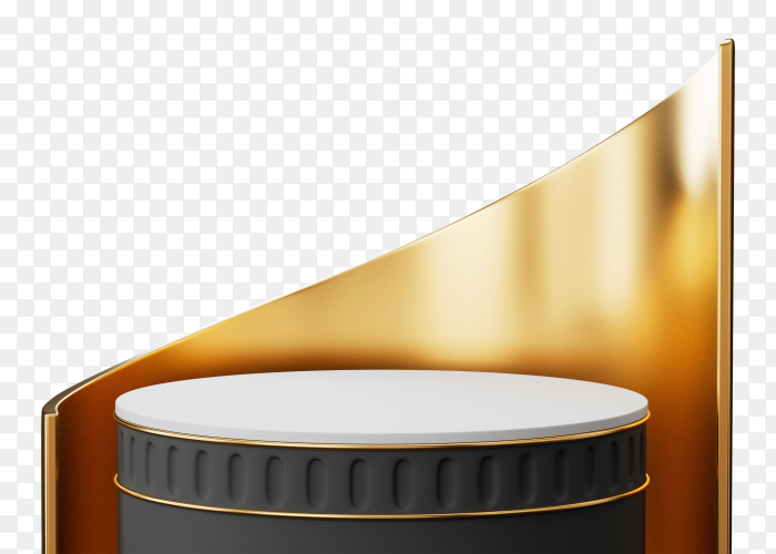 3d black-gold pedestal podium – premium image on transparent background PNG