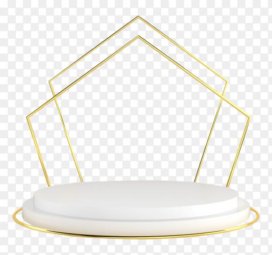 3d white-gold pedestal podium – premium image on transparent background PNG