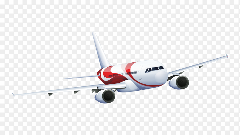 Airplane flying on transparent background PNG