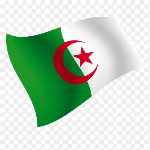 Algeria flag waving vector on transparent background PNG