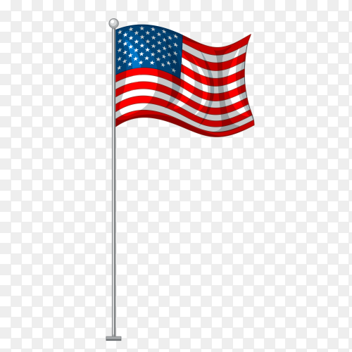 American flag on metal pole vector PNG