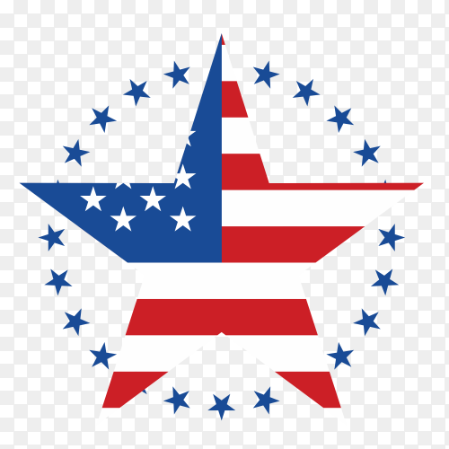 American flag star shape on transparent background PNG