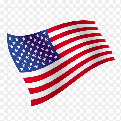 American flag waving illustration vector PNG