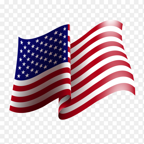 American flag waving vector PNG