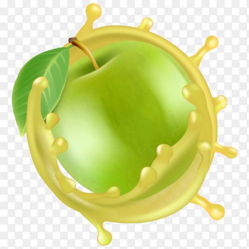 An apple with juice vector transparent PNG