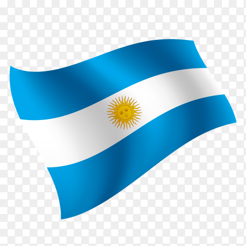 Argentina flag waving vector on transparent background PNG