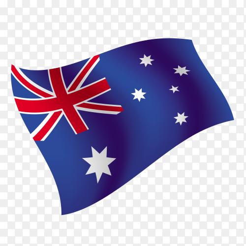 Australia flag waving vector on transparent background PNG