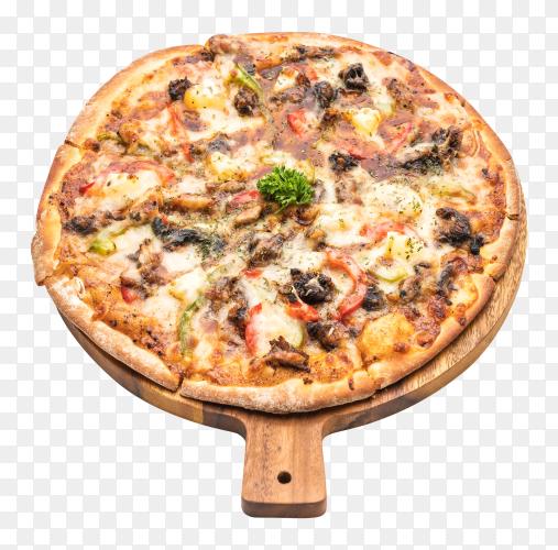 BBQ pork pizza on transparent background PNG