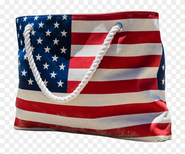 Bag with american flag free image PNG