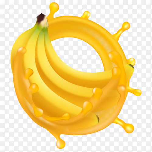Banana with juice vector transparent PNG