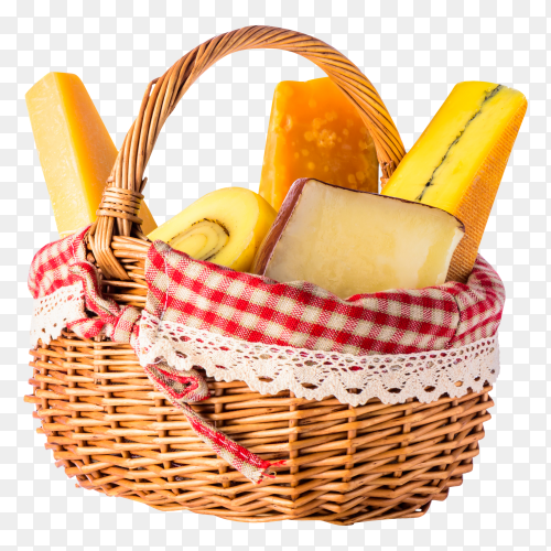 Basket with cheeses on transparent background PNG