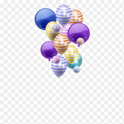 Beautiful colorful balloons clipart PNG