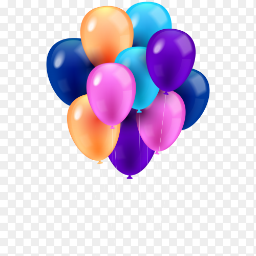 Beautiful colorful balloons on transparent background PNG