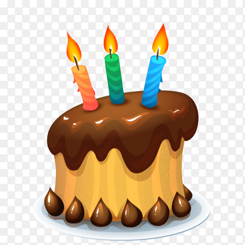 Birthday chocolate cake with candles transparent PNG