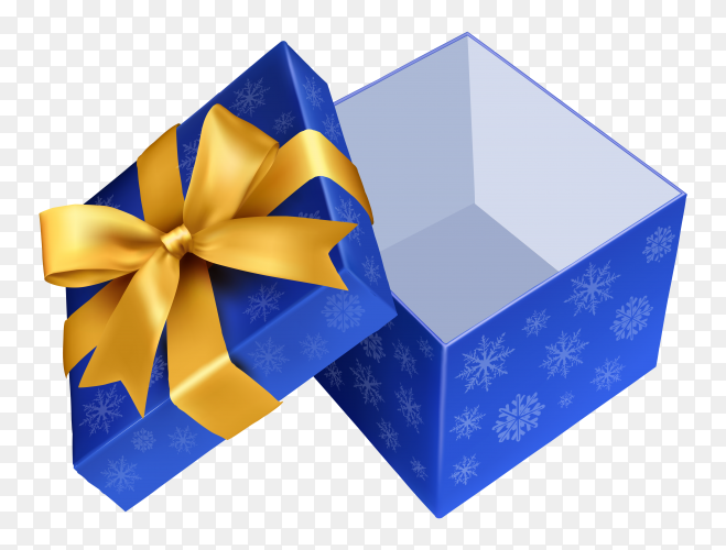 Blue gift box – vector PNG