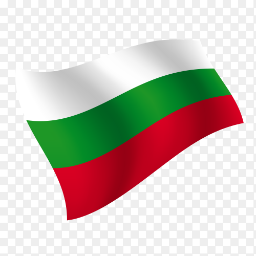 Bulgaria flag waving vector on transparent background PNG