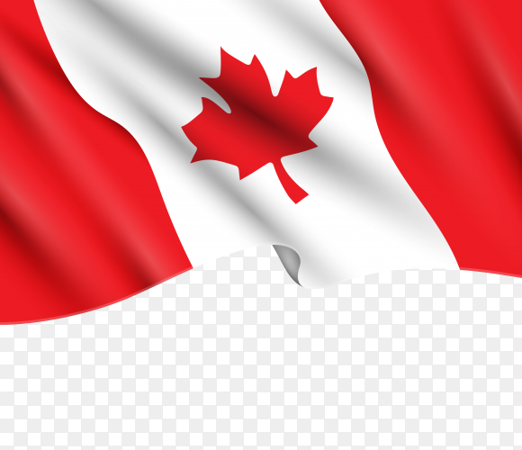 Canada flag waving on transparent background PNG