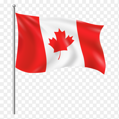 Canada flag waving vector on transparent background PNG