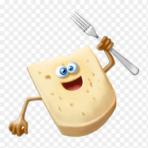 Cartoon cheese on transparent background PNG