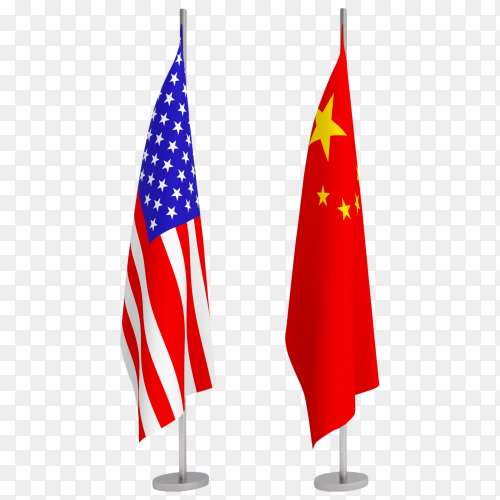 China and USA flag pole podium standing image PNG